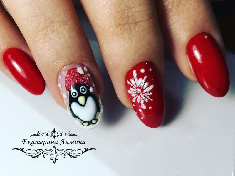 маникюр с пингвином