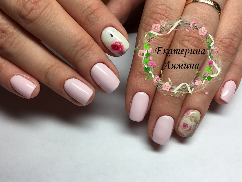 розовый со слайдами из цветов