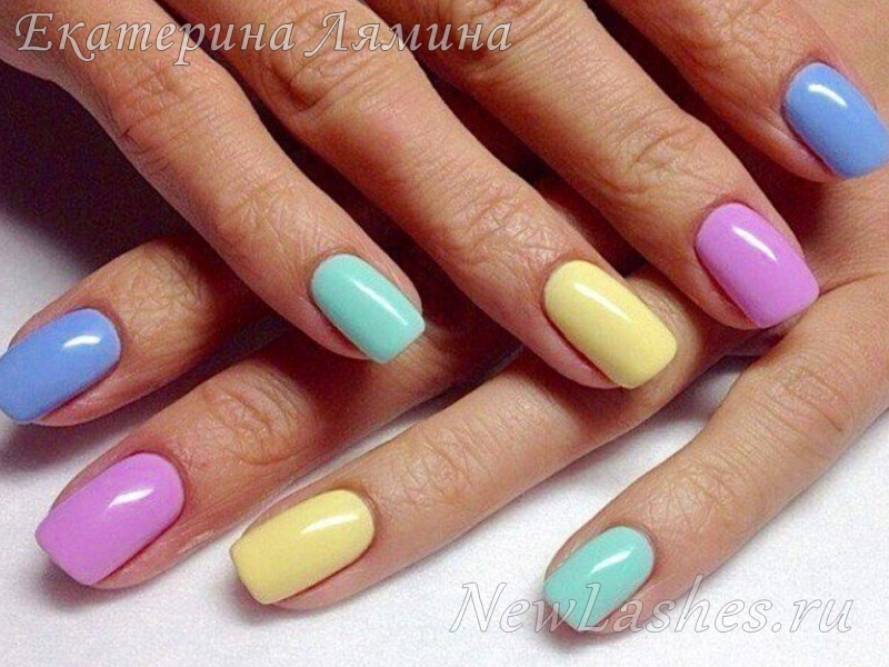 разноцветный гель лак
