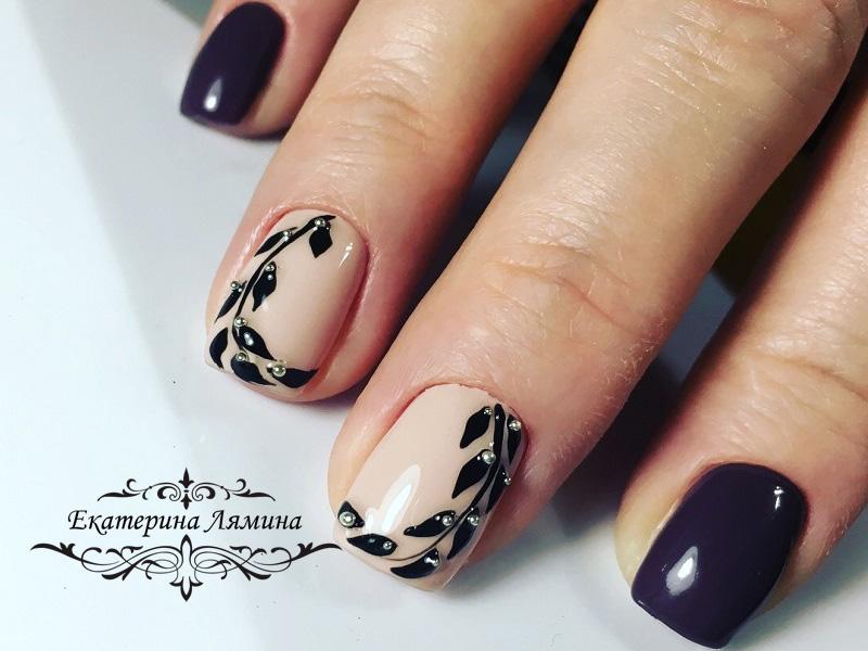 глиняно-фиолетовый с листьями и бульонками